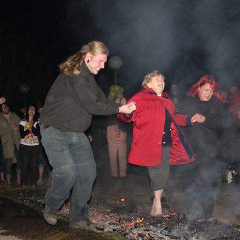 YBPSS member taking part in the fire walk
