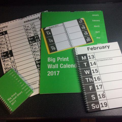 Large print diaries and calendars